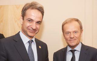Ο πρόεδρος της Νέας Δημοκρατίας Κυριάκος Μητσοτάκης με τον πρόεδρο του Ευρωπαϊκού Συμβουλίου Ντόναλντ Τουσκ.