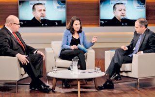 Πρόσφατη εκπομπή της γερμανικής τηλεόρασης με οικοδέσποινα την Ανε Βιλ και προσκεκλημένους τον Γερμανό προσωπάρχη Π. Αλτμάιερ και τον Τούρκο υπουργό Αθλητισμού Ακ. Κιλίτς.