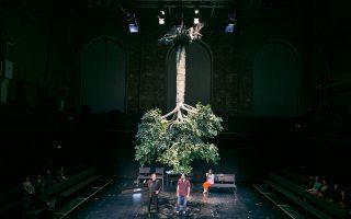 Κρεμασμένο από τις ρίζες του το πράσινο δένδρο δείχνει τον ξεριζωμό των οικογενειών των θυμάτων από τη δεύτερη πατρίδα τους, το Μόναχο, στο έργο «Αποφάσεις» που μετέφερε στο θεατρικό σανίδι το δράμα δύο οικογενειών