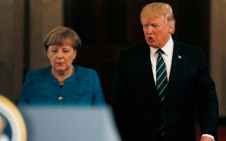 Επίθεση Τραμπ κατά Μέρκελ για «τεράστια» χρέη στο ΝΑΤΟ, την επομένη της συνάντησής τους