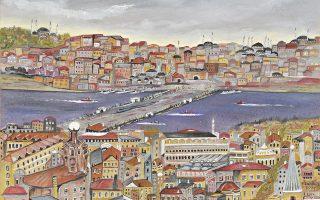 «Θέα από το Πέρα (Beyoglu) στην παλιά πόλη και τον Κεράτιο». Ενα από τα έργα του Γιάννη Ξανθούλη.