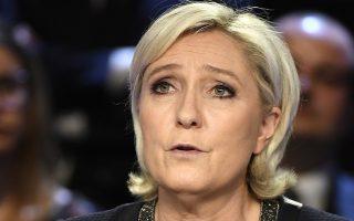 Η Μαρίν Λεπέν κατά τη διάρκεια του πρώτου τηλεοπτικού ντιμπέιτ μεταξύ των 11 υποψηφίων των προεδρικών εκλογών στη Γαλλία.
