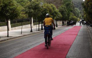 Ο ποδηλατόδρομος του Προεδρικού μεγάρου. Ηταν όλα έτοιμα για την επίσημη υποδοχή του Προέδρου της Γερμανίας από τον Προκόπη Παυλόπουλο. Το κατακόκκινο χαλί είχε ξεδιπλωθεί και καθαριστεί για να βαδίσουν οι δυο πρόεδροι και σε λίγο θα κατέφθανε με τον σαματά από τα τσαρούχια και το άγημα της προεδρικής φρουράς. Τότε εμφανίστηκε ο ξένοιαστος ποδηλάτης που  από όλες τις βόλτες του στην πρωτεύουσα βρήκε επιτέλους έναν της προκοπής ποδηλατόδρομο. (EUROKINISSI/ΓΙΑΝΝΗΣ ΠΑΝΑΓΟΠΟΥΛΟΣ)
