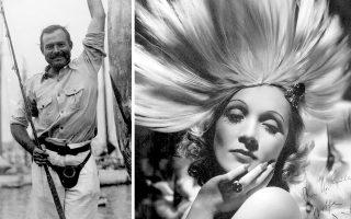 Ο Ερνεστ Χέμινγουεϊ στο λιμάνι της Αβάνας το 1934, έχοντας ψαρέψει έναν ξιφία Μάρλιν. Δεξιά, η Μαρλέν Ντίτριχ το 1931. Γνωρίστηκαν το 1934 και συνέχισαν να επικοινωνούν για σχεδόν 30 χρόνια.