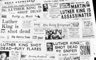 Τα πρωτοσέλιδα των πρωινών εφημερίδων της 5ης Απριλίου 1968, λίγες ώρες μετά τη δολοφονία του Δρ. Μάρτιν Λούθερ Κινγκ Τζ. (AP Photo)