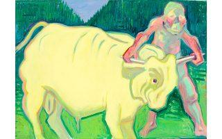 Maria Lassnig «Αρπάζοντας τον ταύρο από τα Κέρατα», μέσα δεκαετίας 1980, λάδι σε καμβά, 145 x 200 εκ. Maria Lassnig Foundation © Maria Lassnig Foundation