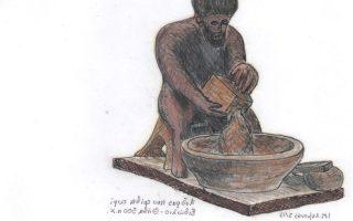 Άνδρας που τρίβει τυρί ειδώλιο - Θήβα 500 π.Χ.