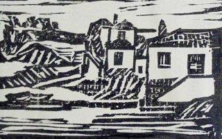 Ξυλογραφία με θέμα τα αρχοντικά των Σπετσών.