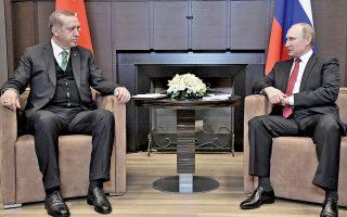 Βλαντιμίρ Πούτιν και Ταγίπ Ερντογάν, κατά τη χθεσινή συνάντησή τους στη ρωσική πόλη Σότσι, στη Μαύρη Θάλασσα.