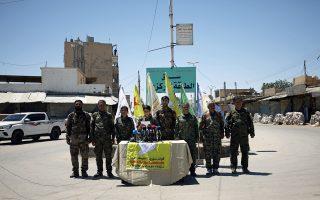 Ο διοικητής των SDF Αμπντούλ Καντέρ Χεβντελί στη χθεσινή συνέντευξη Τύπου στην Τάμπκα.