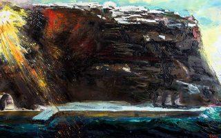Εργο με θέμα τη Σαντορίνη, το οποίο δώρισε ο ζωγράφος Παναγιώτης Τέτσης στον Αριστείδη Αλαφούζο.