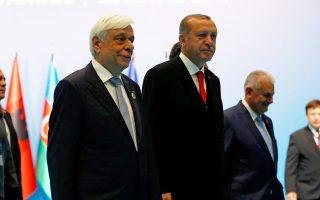 Οι κ. Προκόπης Παυλόπουλος και Ταγίπ Ερντογάν στη Σύνοδο Κορυφής του ΟΣΕΠ, στην Κωνσταντινούπολη.