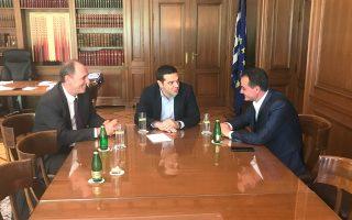 Ο Αλ. Τσίπρας συναντήθηκε χθες στο Μέγαρο Μαξίμου με τον περιφερειάρχη Δυτικής Μακεδονίας, Θ. Καρυπίδη. Παρών και ο υπουργός Ενέργειας, Γ. Σταθάκης.