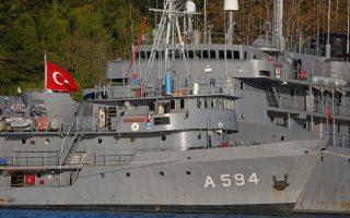 Πλοία του τουρκικού ναυτικού. Η παραμονή και διέλευσή τους στις Κυκλάδες αποτελεί την κύρια διαφοροποίηση της φετινής άσκησης «Deniz Kurdu» με παλαιότερες εκδοχές της.
