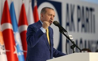 Turkish President Tayyip Erdogan makes a speech during the Extraordinary Congress of the ruling AK Party (AKP) in Ankara, Turkey May 21, 2017. Murat Cetinmuhurdar/Presidential Palace/Handout via REUTERS ATTENTION EDITORS - THIS PICTURE WAS PROVIDED BY A THIRD PARTY. FOR EDITORIAL USE ONLY. NO RESALES. NO ARCHIVE.