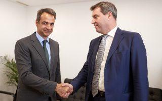 Θερμή χειραψία του προέδρου της Νέας Δημοκρατίας Κυρ. Μητσοτάκη με τον Βαυαρό υπουργό Οικονομικών Markus Söder.