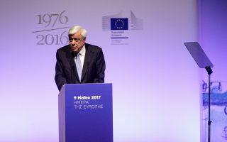 Ο κ. Προκόπης Παυλόπουλος κατά τη διάρκεια της ομιλίας του στο Κέντρο Πολιτισμού Ιδρυμα Σταύρος Νιάρχος.