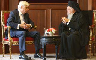 Ο Πρόεδρος της Δημοκρατίας με τον Οικουμενικό Πατριάρχη Βαρθολομαίο.
