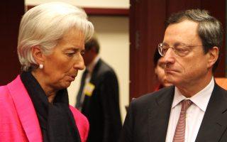 Λαγκάρν - Ντράγκι.Το ΔΝΤ θεωρεί το χρέος μη βιώσιμο μέχρι να διευκρινιστούν τα μέτρα ελάφρυνσης. Οσο υπάρχει αυτό, ο Ντράγκι δεν θα φέρει στο διοικητικό συμβούλιο το θέμα του QE.
