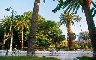 Η λεωφόρος των Φοινίκων διατρέχεται από τον ποδηλατόδρομο της Κω. (Φωτογραφία: ΚΛΑΙΡΗ ΜΟΥΣΤΑΦΕΛΛΟΥ)