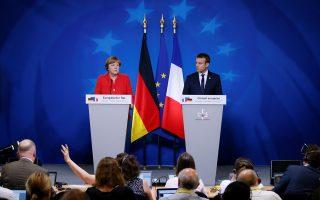 Η χθεσινή κοινή συνέντευξη Τύπου της καγκελαρίου Αγκελα Μέρκελ και του Γάλλου προέδρου Εμανουέλ Μακρόν στις Βρυξέλλες.