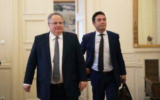 Οι υπουργοί Εξωτερικών της Ελλάδας Νίκος Κοτζιάς και της ΠΓΔΜ Νίκολα Ντιμιτρόφ, κατά την πρόσφατη επίσκεψη του δεύτερου στην Αθήνα.