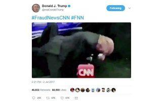 Το βίντεο 28 δευτερολέπτων, που δείχνει τον Ντ. Τραμπ να γρονθοκοπεί έναν τύπο του οποίου το κεφάλι αντικαταστάθηκε από το λογότυπο του CNN, φιλοξενήθηκε και στον λογαριασμό του Αμερικανού προέδρου στο Τwitter.
