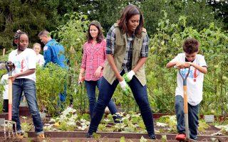 Παλιές ευτυχισμένες στιγμές για τον κήπο του Λευκού Οίκου, όταν η τέως Πρώτη Κυρία των ΗΠΑ, Μισέλ Ομπάμα, καλλιεργούσε λαχανικά με τη βοήθεια μαθητών στο πλαίσιο της εκστρατείας προώθησης της υγιεινής διατροφής για τους νέους. Η διάδοχός της, Μελάνια Τραμπ, δεν μοιάζει να ενδιαφέρεται για τη συνέχιση της πρωτοβουλίας, ακολουθώντας τα χνάρια του συζύγου της, Ντόναλντ Τραμπ, στο επίμονο ξήλωμα ολόκληρου του έργου της προεδρίας Ομπάμα.