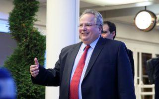 Ο υπουργός Εξωτερικών κατά την άφιξή του στη διάσκεψη για το Κυπριακό, στο ελβετικό θέρετρο Κραν-Μοντανά. Χθες το βράδυ, ο Νίκος Κοτζιάς είχε διμερή συνάντηση με την ύπατη εκπρόσωπο της Ε.Ε. Φεντερίκα Μογκερίνι.