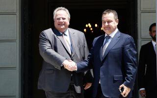 Ο υπουργός Εξωτερικών της Σερβίας, Ιβιτσα Ντάτσιτς, κατά τη συνάντησή του με τον Ελληνα ομόλογό του Νίκο Κοτζιά, επισήμανε ότι η χώρα του δεν πρόκειται να προβεί σε «κινήσεις οι οποίες μπορεί να έχουν αρνητικές επιπτώσεις στη σταθερότητα της περιοχής».