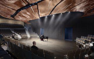 Φωτορεαλιστική απεικόνιση του νέου υπόγειου αμφιθεάτρου 600 θέσεων του Ωδείου Αθηνών, που σκοπεύει να αναδείξει τα χαρακτηριστικά και τη γεωμετρία του χώρου.