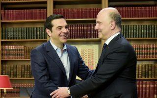 Ο Αλ. Τσίπρας υποδέχθηκε χθες τον επίτροπο Οικονομικών και Νομισματικών Υποθέσεων Πιερ Μοσκοβισί στο Μαξίμου και του επισήμανε πως η επίσκεψή του πραγματοποιήθηκε την ημέρα «που η Ελλάδα επιστρέφει στις αγορές με έναν επιτυχημένο τρόπο».