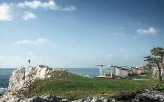 Το συγκρότημα τριών καμπυλόγραμμων κατοικιών στην Καλιφόρνια, «Sea Song», του γραφείου Form4Architecture, που πήρε το πρώτο βραβείο.
