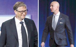Η εκάστοτε χρηματιστηριακή αξία της Amazon και της Microsoft διαμορφώνει το ύψος του πλούτου των επικεφαλής τους, του Τζεφ Μπέζος και του Μπιλ Γκέιτς, αντίστοιχα.