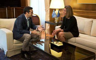 Ο Αλέξης Τσίπρας υποδέχθηκε χθες τη Φεντερίκα Μογκερίνι στο Μαξίμου.