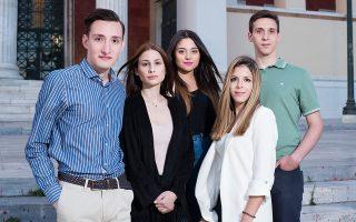Από αριστερά: Μαρίνος Σωτηρόπουλος, Βάσια Μπούζα, Μαρία Ματεμτζή, Ιωάννα Τσολάκη, Διονύσης Παυλιόγλου. Φωτογραφία: Βαγγέλης Ζαβός