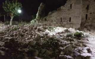 Damages at the castle are seen after an earthquake on the Greek island of Kos early Friday, July 21, 2017. A powerful earthquake struck Greek islands and Turkey's Aegean coast early Friday morning, damaging buildings and a port and killing people, authorities said. (Kalymnos-news.gr via AP)