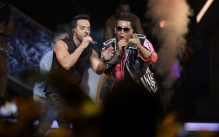 FILE - In this April 27, 2017 file photo, singers Luis Fonsi, left and Daddy Yankee perform during the Latin Billboard Awards in Coral Gables, Fla. Universal Music Latin Entertainment announced Wednesday, July 19, 2017, that