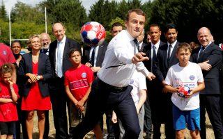 Ψυχαγωγικό κέντρο για μικρά παιδιά επισκέφθηκε χθες ο πρόεδρος Εμανουέλ Μακρόν.