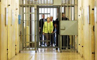 Η Γερμανίδα καγκελάριος Αγκελα Μέρκελ επισκέφθηκε χθες την πρώην φυλακή της μυστικής αστυνομίας της Ανατολικής Γερμανίας, της διαβόητης Στάζι.
