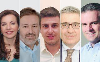 Από αριστερά, Ινέτζη Δημητρακάκη, Δημήτρης Σύρμος, Γιάννης Παπαγεωργίου, Κωνσταντίνος Τρομπούκης, Βασίλης Ανδρικόπουλος.