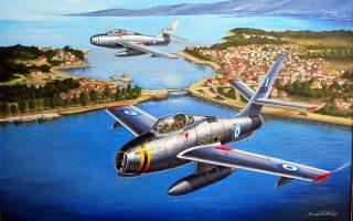 Ο Κ. Καββαδίας χρησιμοποιεί ακρυλικά χρώματα για να ζωγραφίσει, πάνω σε τελάρα και χαρτόνια εικονογράφησης, διαφορετικούς τύπους πολεμικών αεροσκαφών. Εργα του κοσμούν πτέρυγες μάχης της Πολεμικής Αεροπορίας.