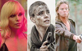 Το «Atomic Blonde» (αριστερά) και το «Mad Max» (κέντρο) αναδεικνύουν τη Θερόν ως action hero. Δεξιά, ο οσκαρικός ρόλος του «Monster».