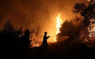 Πυροσβέστες παλεύουν με τις φλόγες στον Κάλαμο Αττικής  Κυριακή 13 Αυγούστου 2017. ΑΠΕ-ΜΠΕ/ΑΠΕ-ΜΠΕ/ΟΡΕΣΤΗΣ ΠΑΝΑΓΙΩΤΟΥ