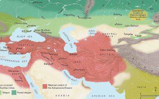 Χάρτης της Ευρασίας που δείχνει την έκταση (σε κόκκινο) της περσικής Αυτοκρατορίας των Αχαιμενιδών και της στέπας (σε πράσινο) που κατείχαν οι Σκύθες. Χάρτης του Paul Goodhead.