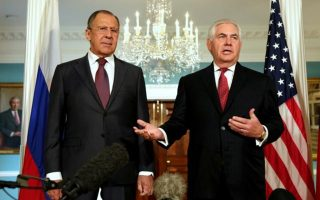 FILE PHOTO: U.S. Secretary of State Rex Tillerson (R) talks to the media next to Russian Foreign Minister Sergey Lavrov before their meeting at the State Department in Washington, U.S., May 10, 2017. REUTERS/Yuri Gripas/File Photo