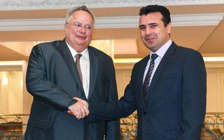 Θερμή χειραψία του Ελληνα υπουργού Εξωτερικών Νίκου Κοτζιά με τον πρωθυπουργό της ΠΓΔΜ Ζόραν Ζάεφ.