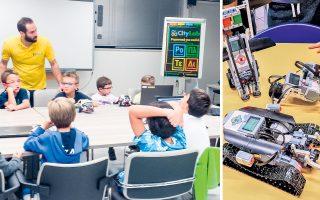 Μαθητές του CityLab μπαίνουν μία φορά την εβδομάδα στο εργαστήριο, για 90 λεπτά, και με την ενεργό καθοδήγηση από ειδικούς εισηγητές βλέπουν το ρομπότ τους να «ζωντανεύει» και να αντιδρά ακριβώς όπως το σχεδίασαν.