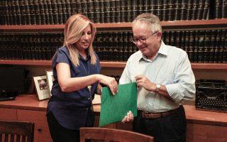 Η κ. Φώφη Γεννηματά καταθέτει τον φάκελο με την υποψηφιότητά της στον κ. Ν. Αλιβιζάτο.