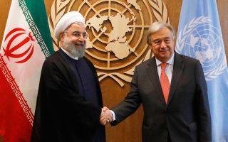 O Iρανός πρόεδρος Χασάν Ροχανί και ο γενικός γραμματέας του ΟΗΕ Αντόνιο Γκουτιέρες.